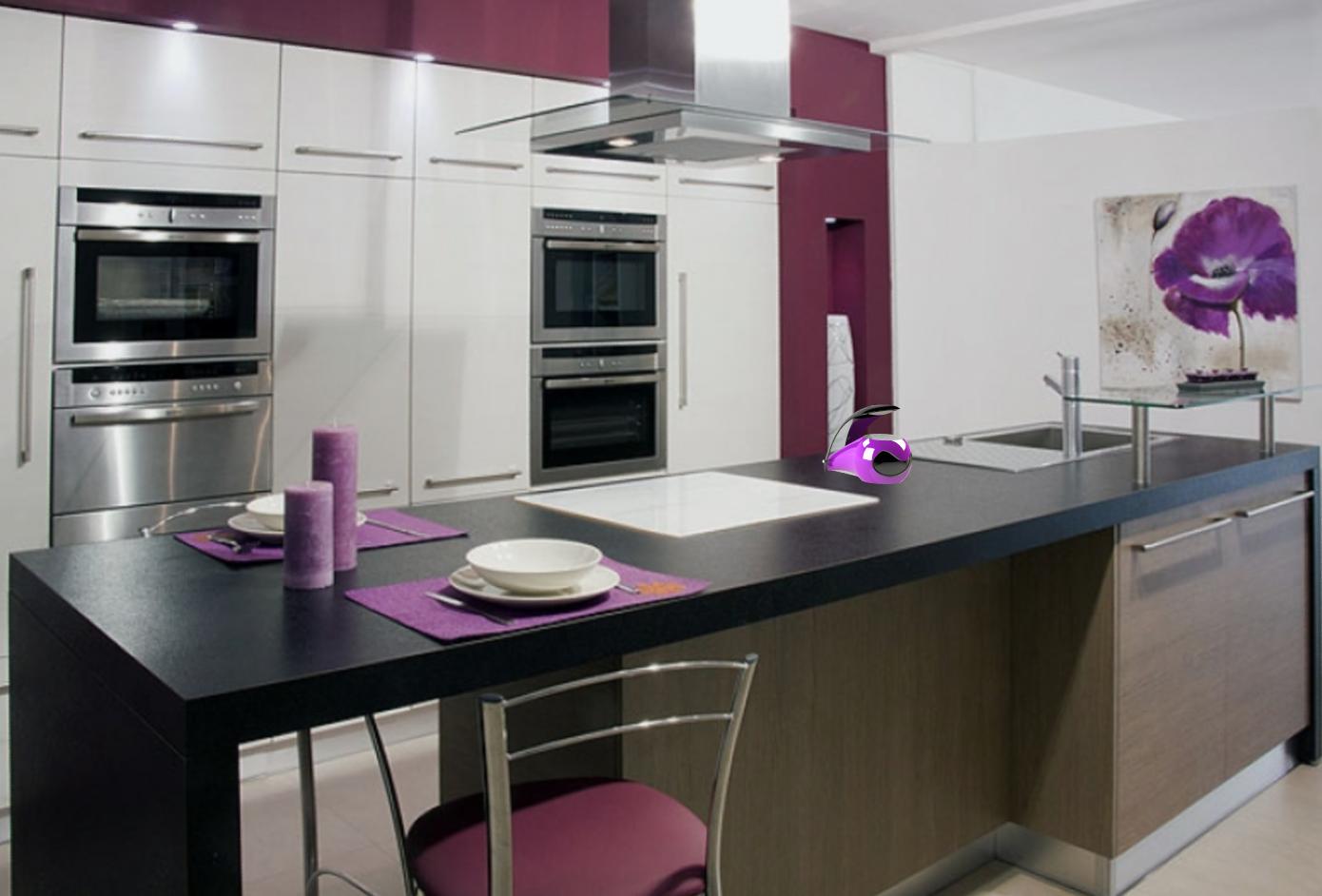 Cuisine Violette Sjour Cuisine Dcoration Violet Blanc Gris With Cuisine Violette Top Cuisine